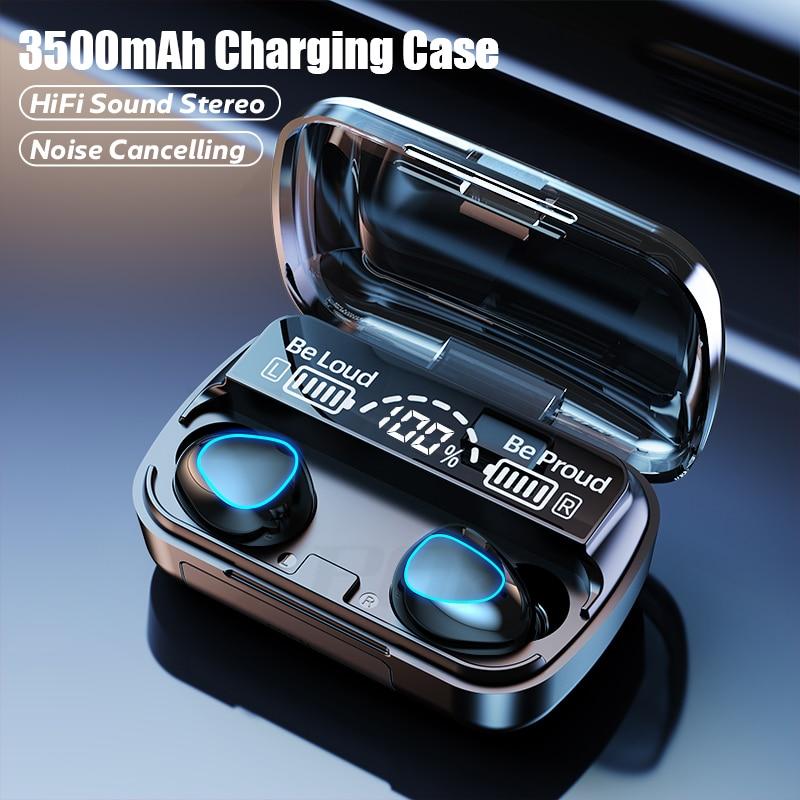TWS Bluetooth 5.1 אוזניות 3500mAh טעינת תיבת אלחוטי אוזניות 9D סטריאו ספורט עמיד למים אוזניות אוזניות עם מיקרופון