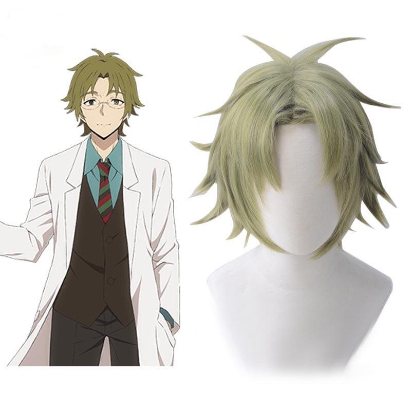Anjos da morte daniel dickens curto verde resistente ao calor do cabelo sintético peruca cosplay + peruca boné