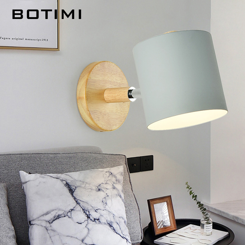 BOTIMI Nordic LED Wall Lamp For Bedroom Reading Wall Sconce Bedside Luminaira Modern Wooden E27 Wall Mounted Lighting Fixtures-in LED Indoor Wall Lamps from Lights & Lighting