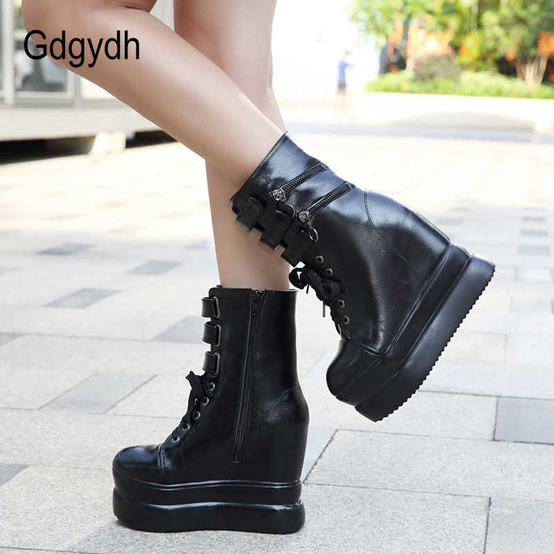 Gdgydh Nieuwe Lace Up Platform Laarzen Gothic Schoenen Vrouw Sexy Rits Wiggen Schoenen Voor Vrouwen Herfst Winter Zacht Leer Groothandel