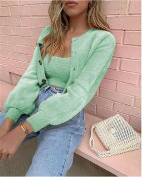 Newly Women Candy Color Fleece Coat Jacket Winter Warm 2Pcs Vintage Sweater Jumper Solid Color Fashion Outwear