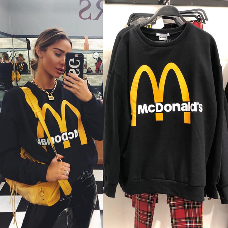 Spring 2019 New Casual Black Knitted Women Sweatshirt O-neck Long Sleeve Loose Pullovers Letter Couple Sweatshirt European Size