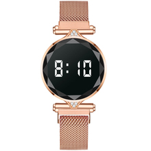 Luxury Digital Magnet Watches For Women Rose Gold Stainless Steel Dress LED Quartz Watch Female Clock Relogio Feminino Drop Ship