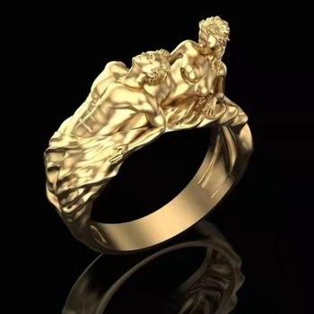 Exageración desnudo anillo párr Dedo de mujer Color oro hombres cráneo gótico...