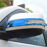 Luhuezu 2 pçs espelho de porta de aço inoxidável guarnição espelho lateral capa para toyota land cruiser v8 lc200 fj200 acessórios 2012-2018
