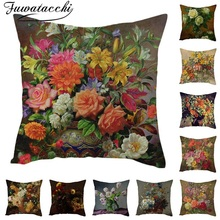 Fuwatacchi Pure Linen Cushion Cover Rose Flower Pillow for Home Chair Sofa Decorative Pillows Oil Painting Flowers
