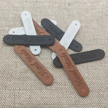 48 etiquetas feitas à mão do couro do plutônio dos pces 10x50mm para a roupa etiquetas feitas à mão com dois furos para o presente etiquetas de costura feitas à mão etiqueta de couro