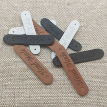 48pcs 10x50mm hand made pu leather labels for clothes handmade tags with two hole for gift hand made sewing labels leather tag win win logo hand made leather labels for gift sewing win logo hand made tags for clothes gift handmade leather sewing label