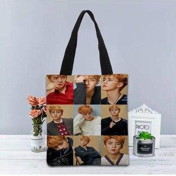 Складная сумка для покупок KPOP EXO, многоразовая Экологически чистая большая Холщовая Сумка унисекс на плечо, сумка-тоут для продуктов, тканевая сумка 1208