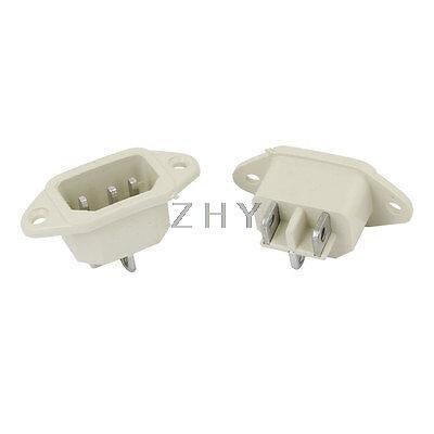 Işıklar ve Aydınlatma'ten Konnektörler'de AC 250V 10A IEC 320 C14 Erkek Fiş 3P Vida Güç Soket Dönüştürücü Beyaz 2 Adet title=