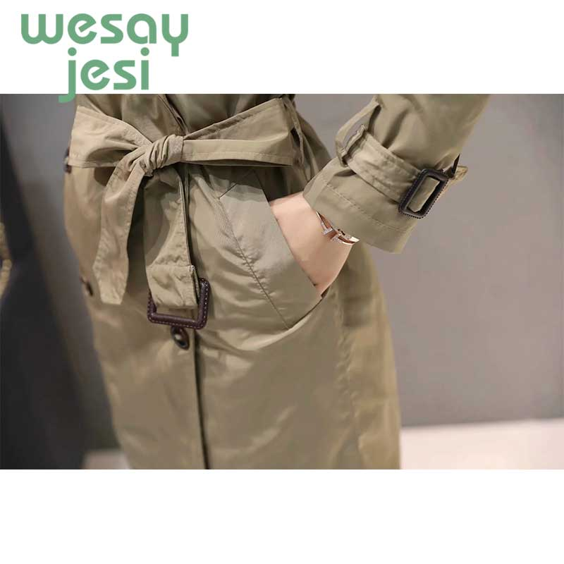 Women trench coat Casual solid color breasted outwear fashion sashes office coat chic Women Clothes Business Outerwear in Trench from Women 39 s Clothing