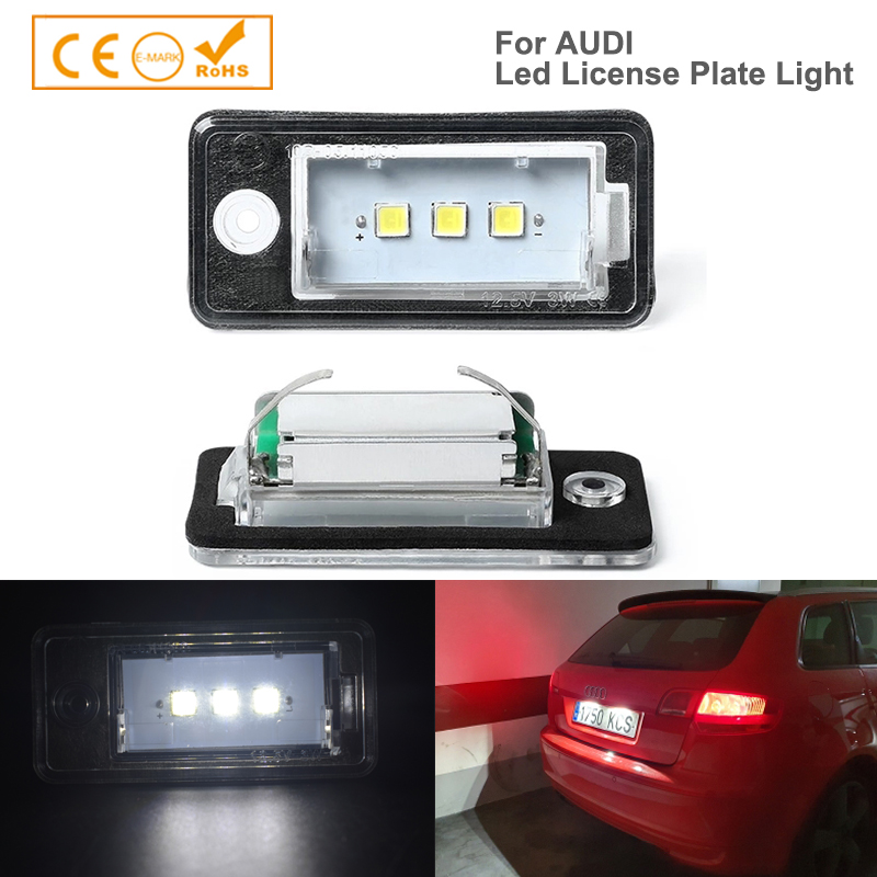 2PCS super bright 3SMD 5050 <font><b>LED</b></font> License Plate Light Canbus Auto accessory styling For <font><b>Audi</b></font> A3 A4 <font><b>A6</b></font> A8 Q7 RS4 RS6 image