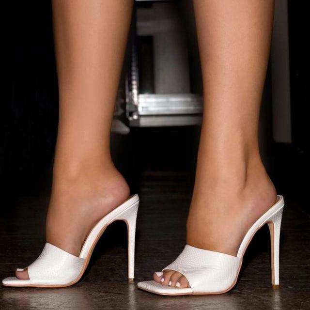 Pzilae 2020 yeni kadın sandalet kare ayak ince yüksek topuk terlik moda kadınlar üzerinde kayma slaytlar yaz plaj ayakkabısı katır boyutu 42