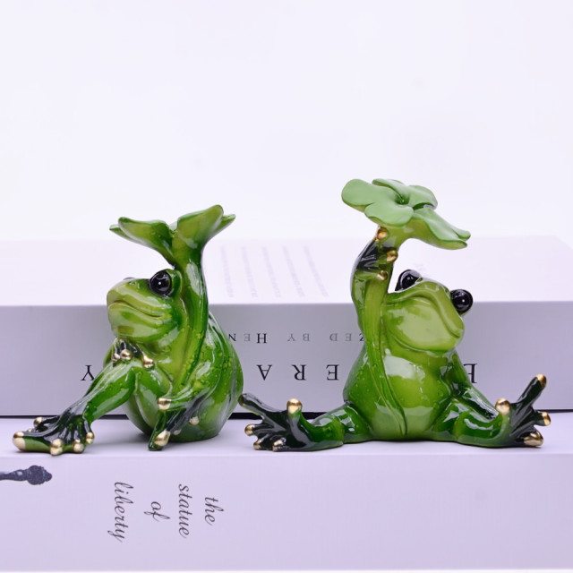 MYBLUE 2Pcs/Set Kawaii Animal  Resin Frog Fairy Garden Figurines Miniature Landscape Nordic Home Table Decoration Accessories 4