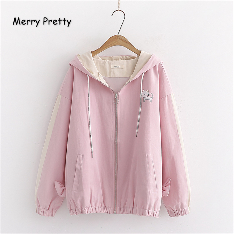 Merry Pretty Women Cartoon Cat Print   Basic     Jackets   2019 Winter Long Sleeve Hooded   Jacket   Casual Zippers Harajuku Outerwear Coats