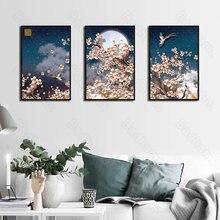 Sala de estar decoração pintura estilo nórdico sofá parede de fundo tríptico pintura flor ameixa sala de jantar quarto pintura