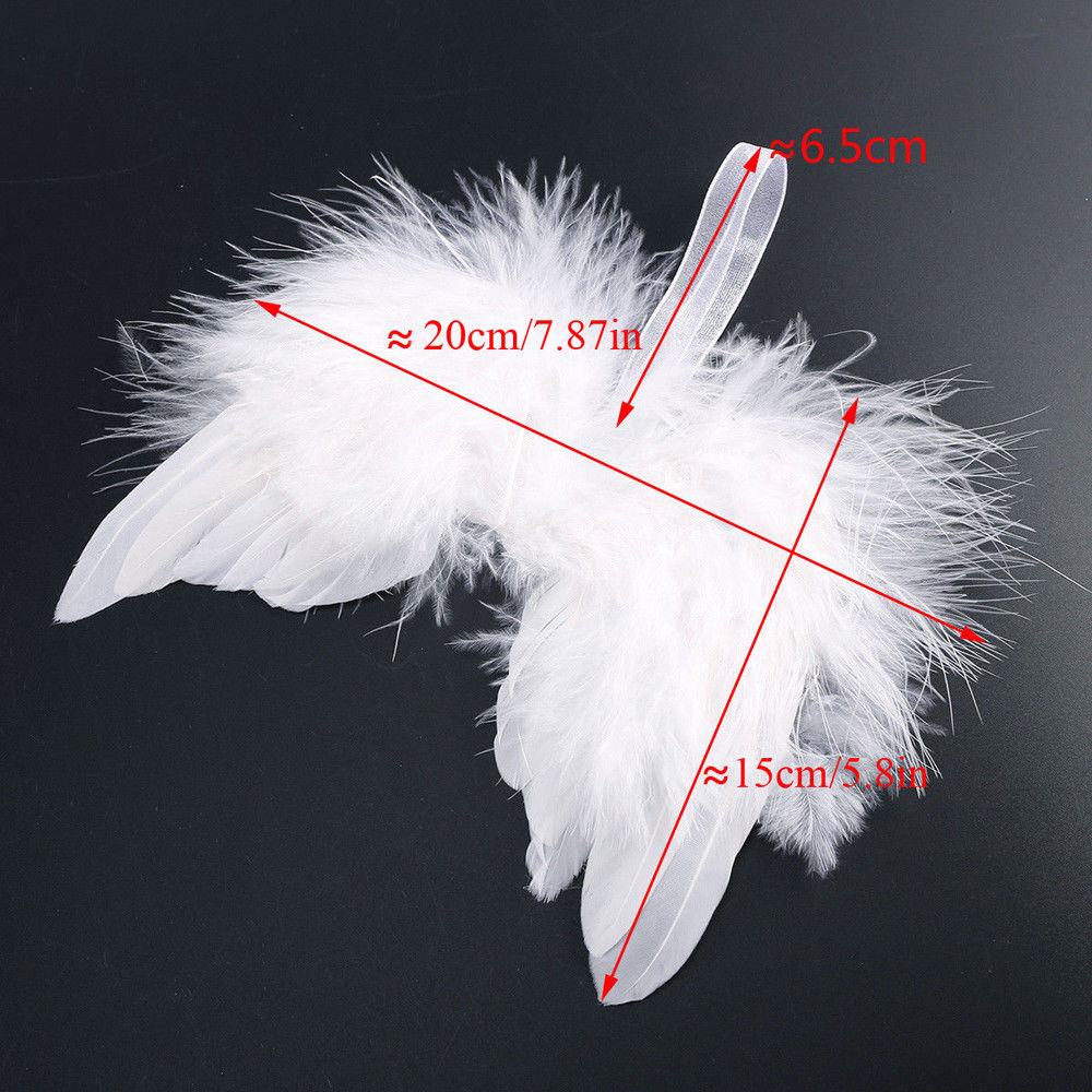 10X White Vintage Feather Hanging Angel Wings Christmas Tree Xmas Ornament