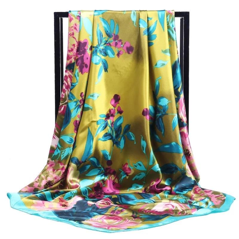 Fashion Shawl Hair Scarf Women Silk Hijab Scarf Female 90cm Kerchief Square Shawl Scarves Ladies Bandanna Foulard Free Shipping