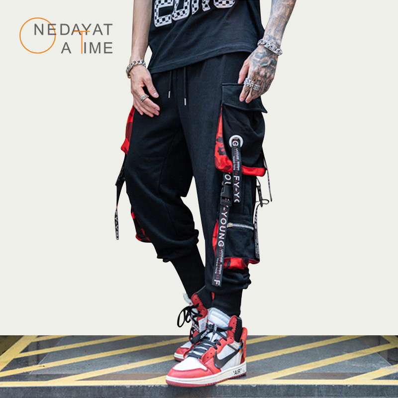 Men Street Style Fashion Pants Newest Ribbon Harlan Beam Pants Hip Hop Streetwear Men Casual Sweatpants Brand Joggers Nine Pants