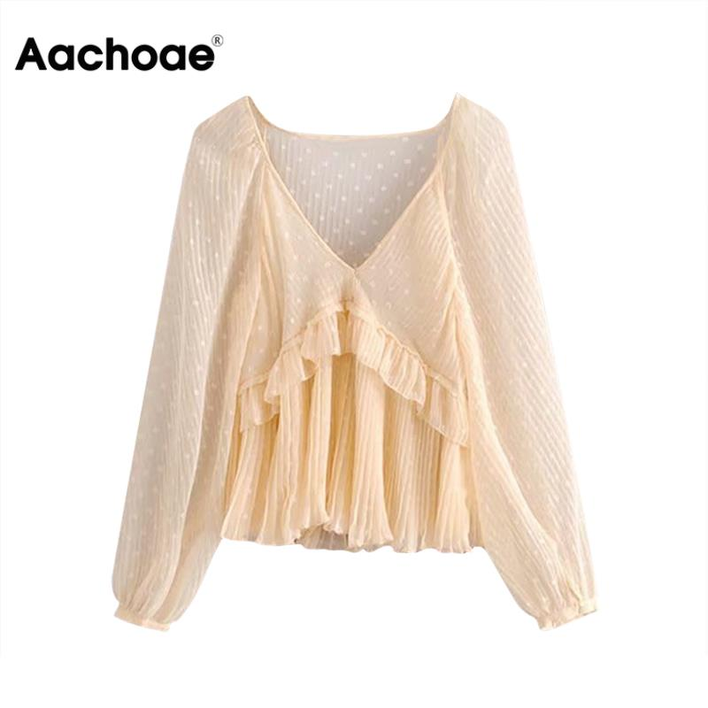 Aachoae Women Dot Print Ruffles See Through Blouse Fashion Casual Transparent Female Long Sleeve Shirts Office V Neck Solid Top