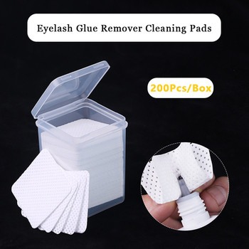 200Pcs/Box Eyelash Glue Remover Cleaning Pads Wipe Lint-Free Paper Cotton Wipes Patches Makeup Cosmetic Cleaning Tools