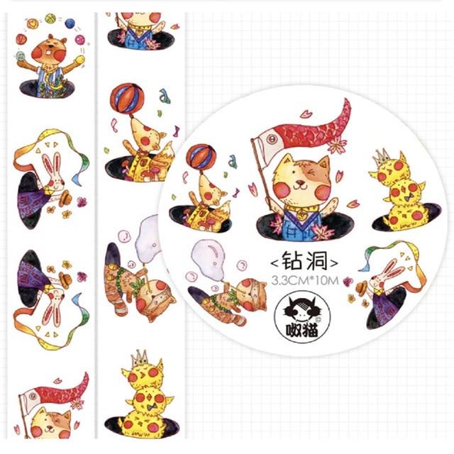 Étiquettes adhésives Washi   Carte de fête danimaux, fabrication de puces, pour Journal de masquage, ruban autocollant Scrapbooking, diy bricolage
