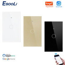EsooLi Luxury Glass Panel 1 Gang 1 Way WIFI Touch Switch Tuya Smart Life APP Control US Standard Wall Switch Null and Fire Line cheap US Wifi Touch Switch Plastic ROHS Switches 1 Years Wifi-01 Touch On Off Switch 90-250V =1000W road WiFi 2 4G app connection (PS Doesn t support 5G)