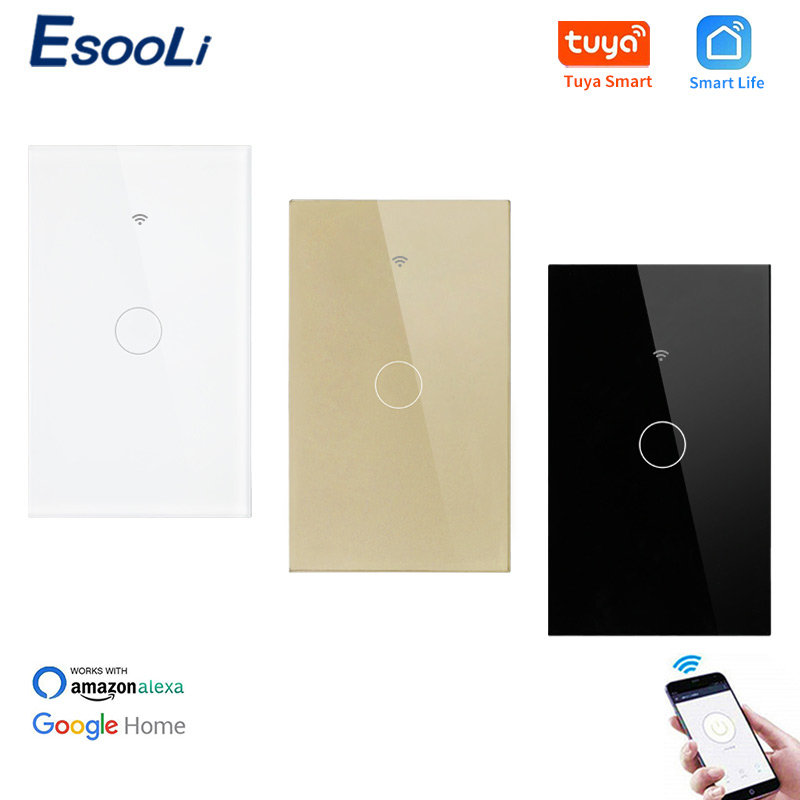 EsooLi Luxury Glass Panel 1 Gang 1 Way WIFI Touch Switch Tuya Smart Life APP Control US Standard Wall Switch Null And Fire Line