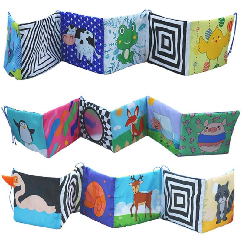 Baby Toys Crib Bumper Newbron Cloth Book Colorful Bed Bumper Baby Toys Infant Rattles Knowledge Around Educational Book