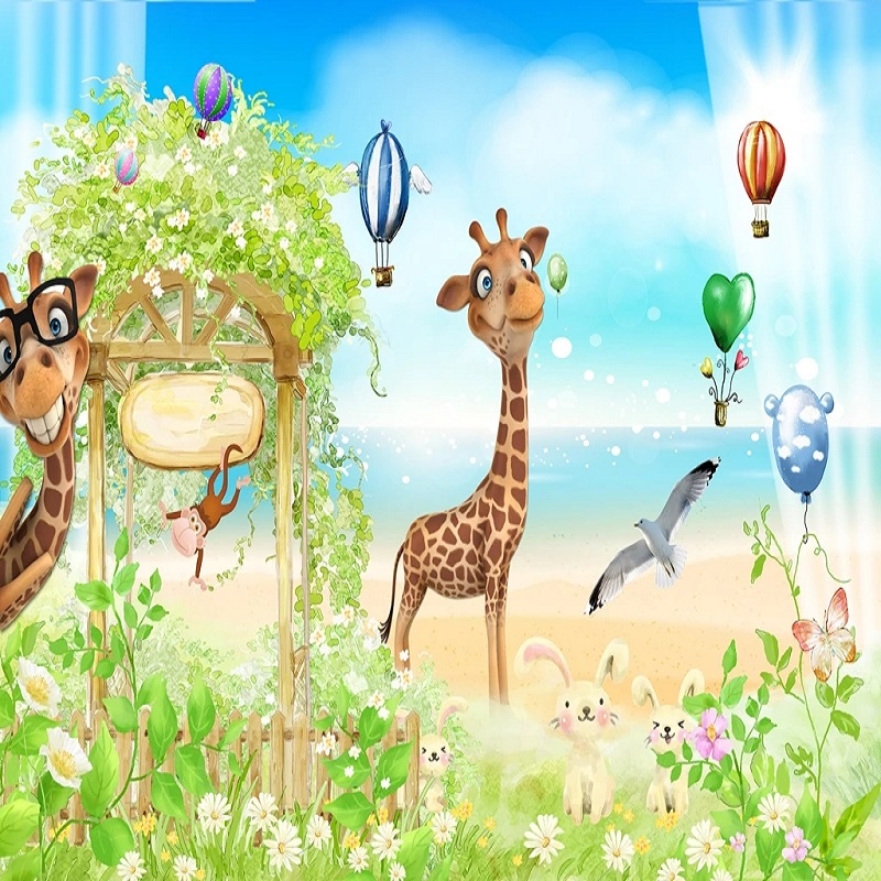 Custom Large Mural 3D Wallpaper Fairy Tale World Cartoon Animal Giraffe Flower Bedroom Mural TV Back Wall Decor Deep 5D Embossed
