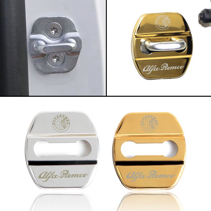 Stainless Steel Door Lock Buckle Protection Protective Cover trim for Alfa Romeo Giulietta Stelvio Car Accessories