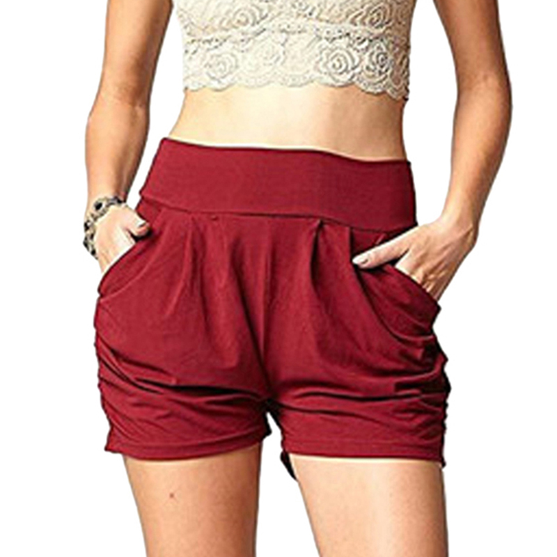High Quality Women's Summer Casual Hot Shorts Elastic Waist With Pockets Shorts Female High Quality Slim Shorts