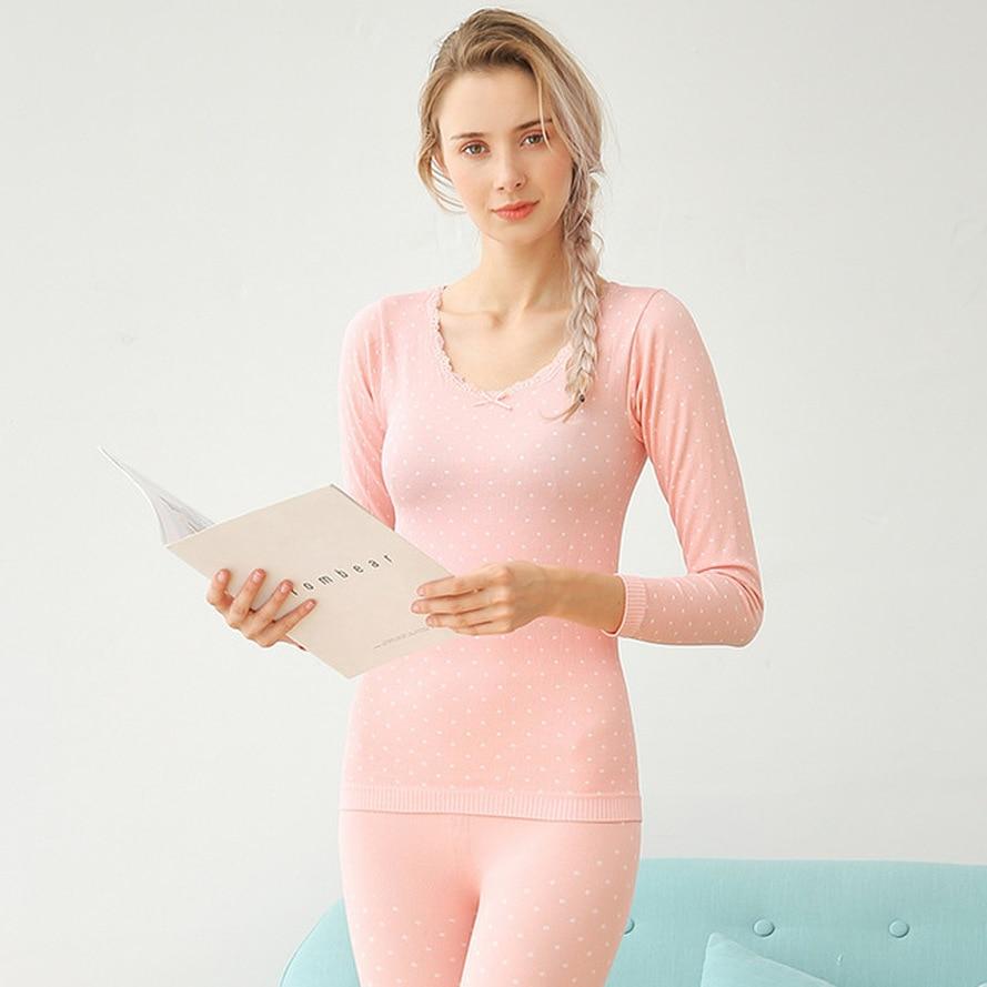 Women's Bow Tie Circle Polka Dot Thermal Underwear Knitted Warm Set Skinny Thermal Underwear Girls Large Size Thermal Underwear