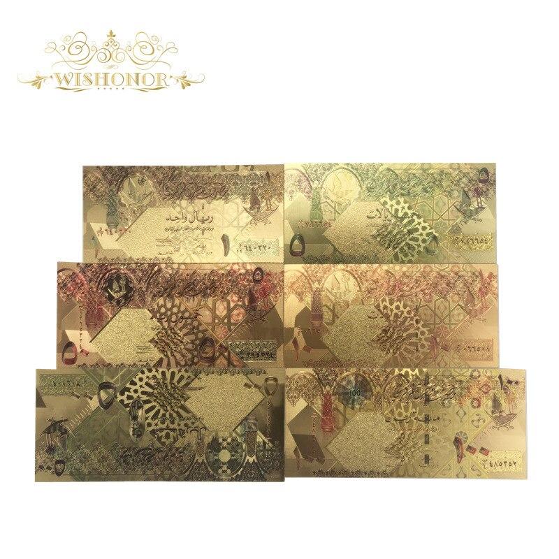 1 conjunto de notas coloridas para riyals, notas em 24k, 1 5, 10, 50, 100, 500 dinheiro de papel falso dourado para presente