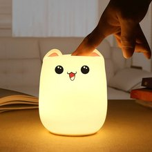 Creative Cute Colorful Led  Night Light Bear Silicone Pat Light Decompression Toy Gift Night Lights  Gift Valentine'S Day mini cartoon led night lights lamps cute pat fish cat light table lampe colorful led night lamp gift