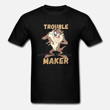 Taz Trouble Maker Official Tasmanian Devil Looney Tunes Grey Mens T-shirt(China)