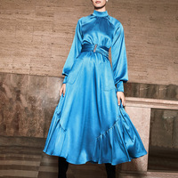 Women Satin Elegant Dress Autumn Lantern Sleeve Stand Collar Tunic Midi Dress Women