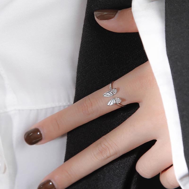 XIYANIKE 925 argent Sterling coréen blanc trois dimensions papillon Zircon Double anneau ensemble Unique conception insecte combinaison 3