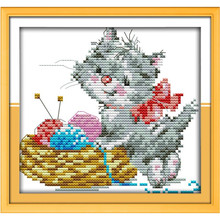 14CT 11CT Embroidered kitten DIY Needlework Patchwork DMC Counted Cross