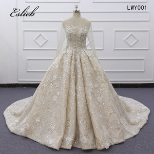 Image 1 - Eslieb Ball Gown Dress Rhinstone Beadings Pearl Crystals Champagne Lace Lace Up Back Custom Made Full Sleeves