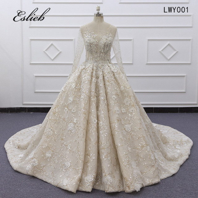 Eslieb Ball Gown Dress Rhinstone Beadings Pearl Crystals Champagne Lace Lace Up Back Custom Made Full Sleeves