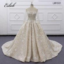 Eslieb Ball suknia wieczorowa Rhinstone kształtki perły kryształy szampana koronki zasznurować powrót wykonane na zamówienie pełne rękawy