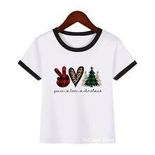 Рождественская футболка peace love милые детские топы с коротким