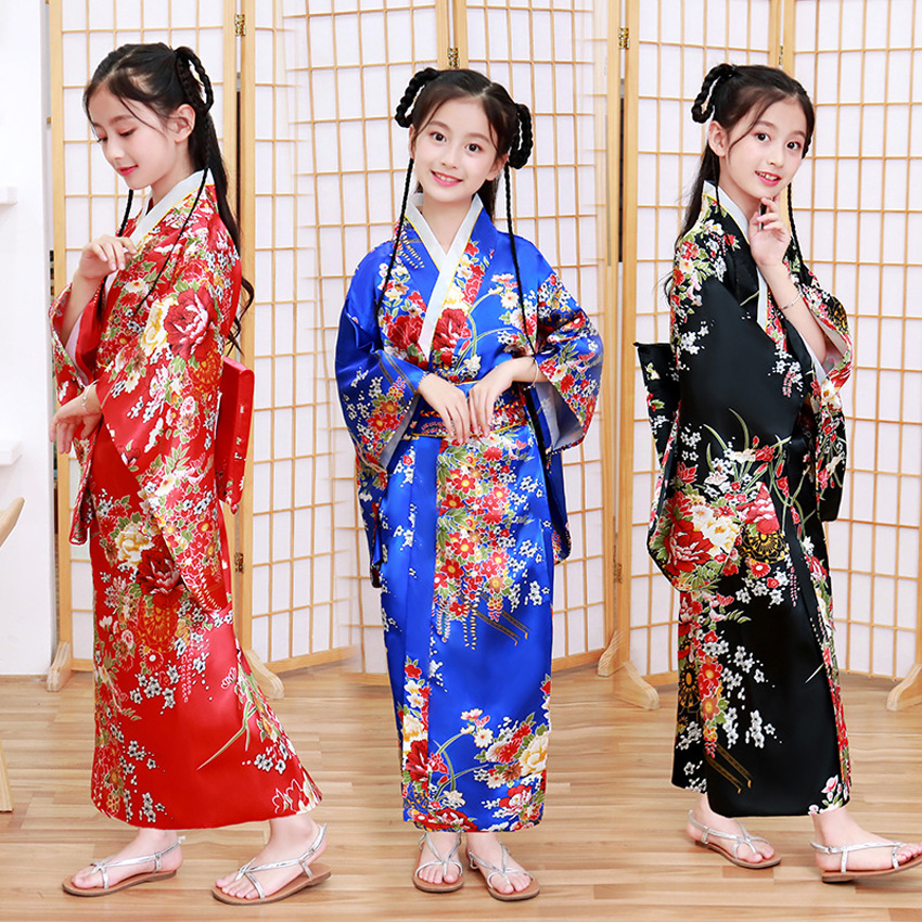 Children Girls Floral Japanese Kimono Dress Satin Silk Smooth Asian National Bathing Robe Haori Yukata With Obi Dance Clothing