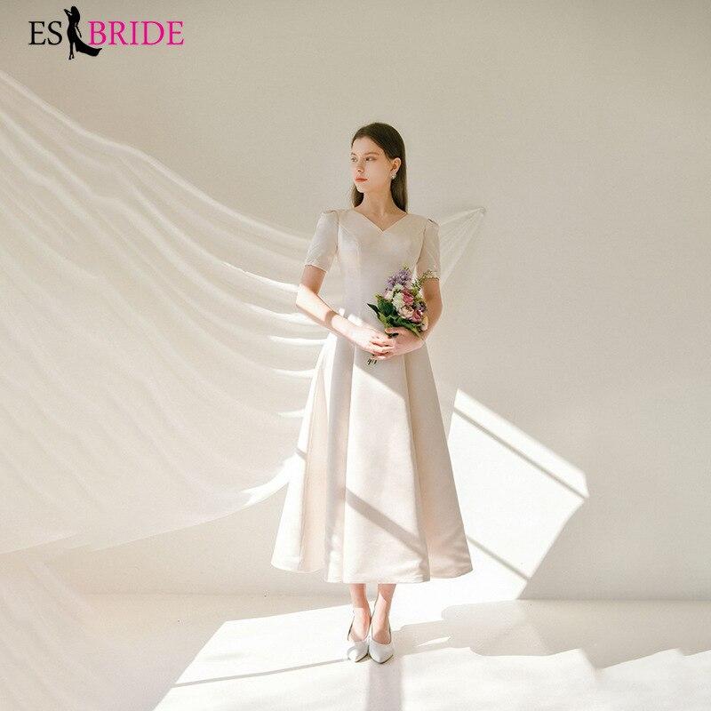 Light Wedding Satin Simple Bride V-neck Long Evening Dress