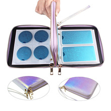 Finger Angel 120 Slots Nail Art Stamp Plate Stamping Case Double Zipper Laser Silver Nail Template Organizer Holder Bag#FJH12
