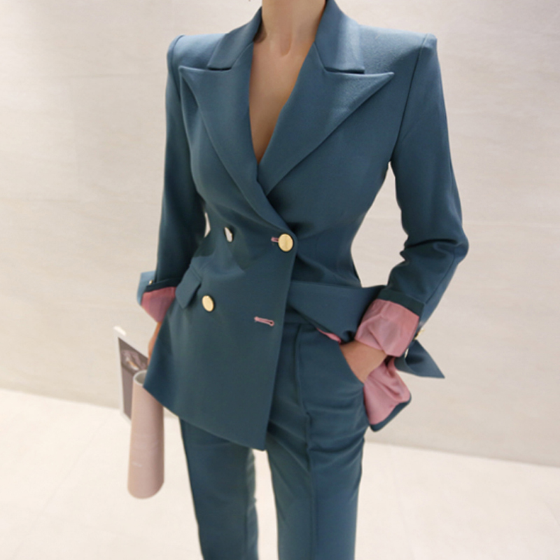 New Fashion Autumn Women High Quality Temperament Suit And Fashion Solid Slim Pants Work Style Elegant Vintage Office Pant Suit