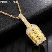 Buzlu Out Bling şampanya şişesi Rhinestone halat zincir altın renk kolye ve kolye erkekler için Hip Hop takı Dropshipping