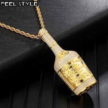 Iced Out Bling Champagner Flasche Strass Seil Kette Gold Farbe Anhänger & Halsketten Für Männer Hip Hop Schmuck Dropshipping