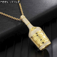 Iced para fora bling garrafa de champanhe strass corda corrente ouro cor pingentes & colares para homem hip hop jóias dropshipping